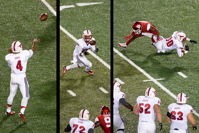 SMU's Davis completes a pass to Jones.