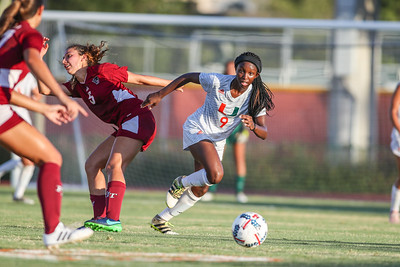 Dejah Cason  of  the University of Miami competes against Florida Tech in a soccer exhibition match before the start of the 2017-18 season.