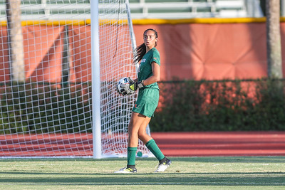 Phallon Tullis-Joyce  of  the University of Miami competes against Florida Tech in a soccer exhibition match before the start of the 2017-18 season.
