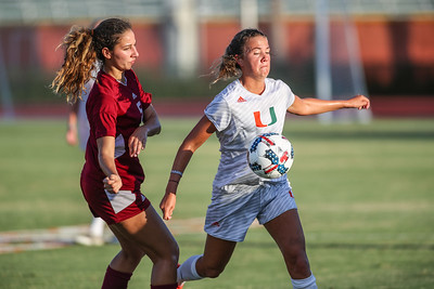 University of Miami compete against Florida Tech in a soccer exhibition match before the start of the 2017-18 season.