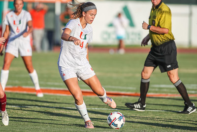 Ronnie Johnson of  the University of Miami competes against Florida Tech in a soccer exhibition match before the start of the 2017-18 season.