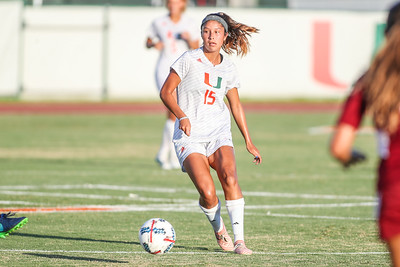 Lauren Markwith  of  the University of Miami competes against Florida Tech in a soccer exhibition match before the start of the 2017-18 season.