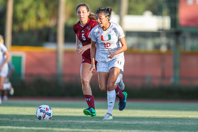 Kristina Fisher  of  the University of Miami competes against Florida Tech in a soccer exhibition match before the start of the 2017-18 season.