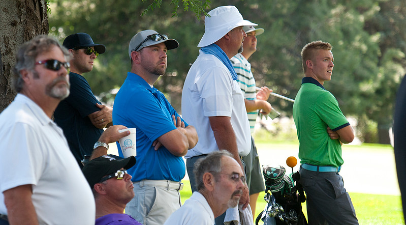 A small group of spectators watch the Utah State Amateur competition. At the Ogden Golf and Country Club. On July 8, 2014. (BRIAN WOLFER/Standard-Examiner)
