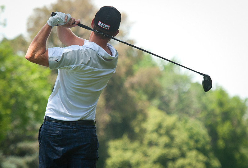 SUU's Jacob Holt competes in the Utah State Amateur competition. At the Ogden Golf and Country Club. On July 8, 2014. (BRIAN WOLFER/Standard-Examiner)