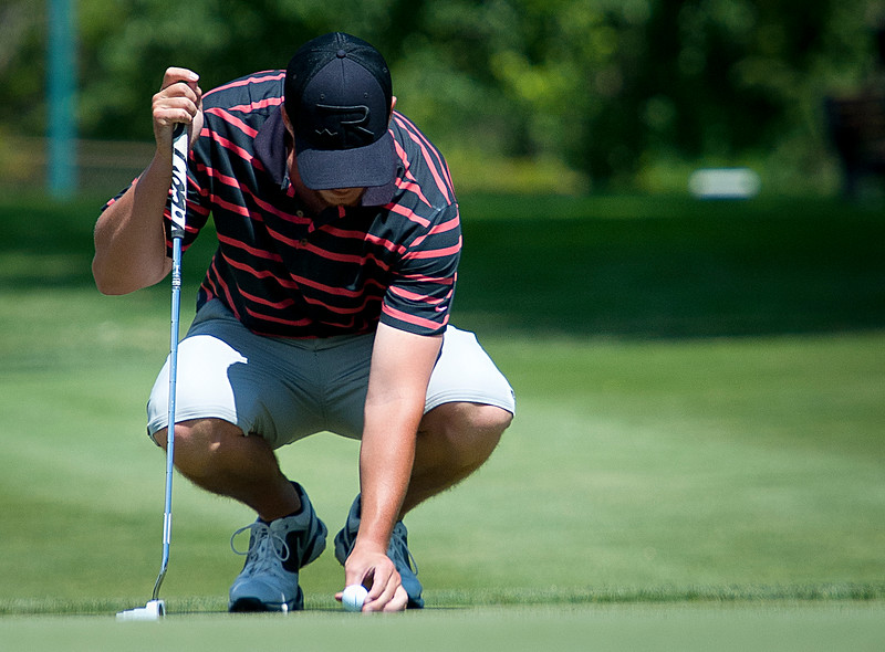Devon Purser gets ready to put the ball during the Utah State Amateur competition on Tuesday. On July 8, 2014. (BRIAN WOLFER/Standard-Examiner)