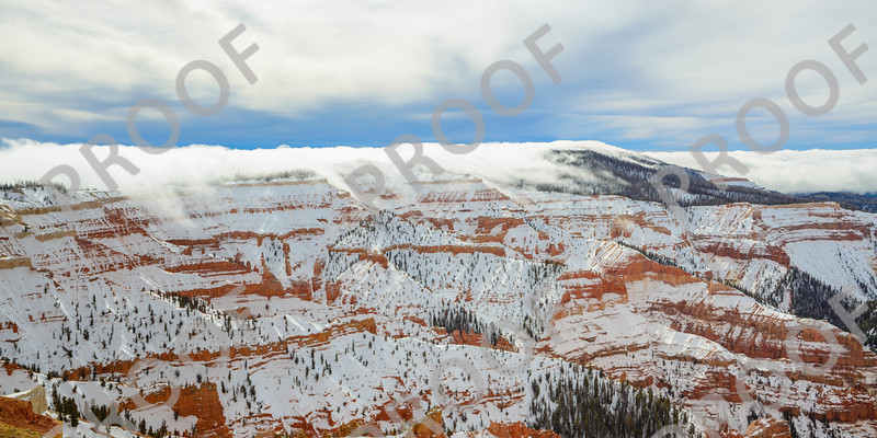 This is a composite of two images of clouds flowing into Cedar Breaks National Monument. It would best be printed on as wide of a picture as possible. See the next shot for a more traditional aspect ratio.