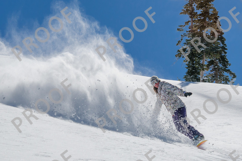 Katie enjoys in-bounds powder at Brian Head.