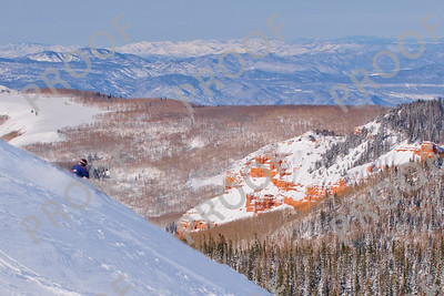 The formations of Ashdown Gorge Wilderness Area provide a beautiful backdrop to another Brian Head sunny powder day.
