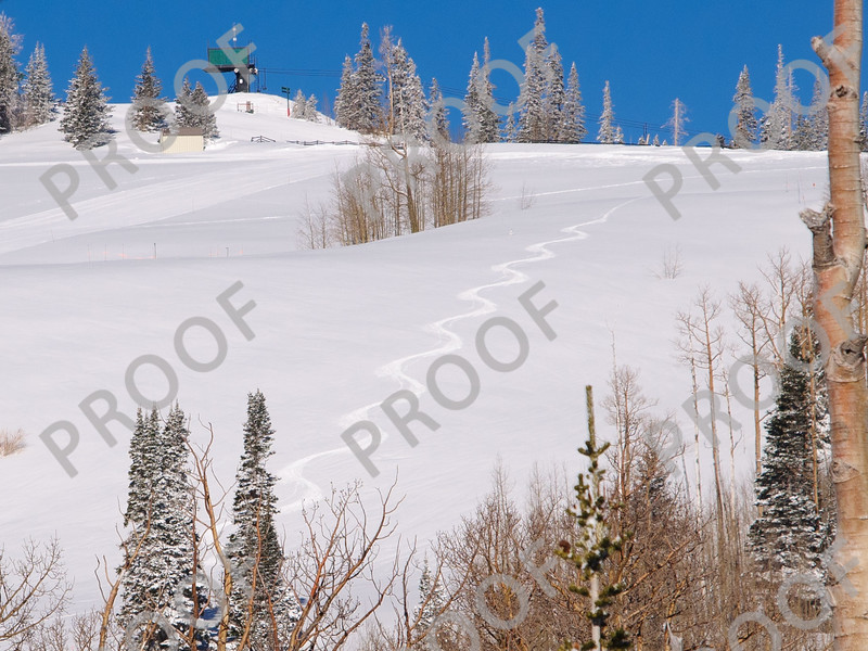 Nothing like starting out the day with first run powder turns at Brian Head. Chair 4 visible at top.