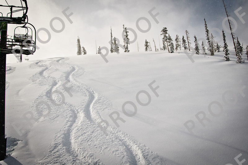 First two Giant Steps tracks on a Saturday powder day in April 2011.