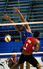 China's Zhou Shun, front, blocks an attack by the USA's Ang Gary during a match as part of the 5th. World Military Games at Copacabana beach, Rio de Janeiro, Brazil, July 18, 2011. China won 2-0. Competitors from 112 countries will participate during the nine days of competitions. (Austral Foto/Renzo Gostoli)