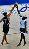 Brazil's Rogerio Ferreira, left, disputes the ball with Angola's Domingos, right, during a match as part of the 5th. World Military Games at Copacabana beach, Rio de Janeiro, Brazil, July 18, 2011. Brazil won 2-0. Competitors from 112 countries will participate during the nine days of competitions. (Austral Foto/Renzo Gostoli)
