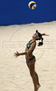 Brazil's Camila Fonseca, serves the ball during a women final phase match against US team as part of the 5th. World Military Games at Copacabana beach, Rio de Janeiro, Brazil, July 22, 2011. Brazil won 2-0. Competitors from 112 countries will participate during the nine days of competitions. (Austral Foto/Renzo Gostoli)