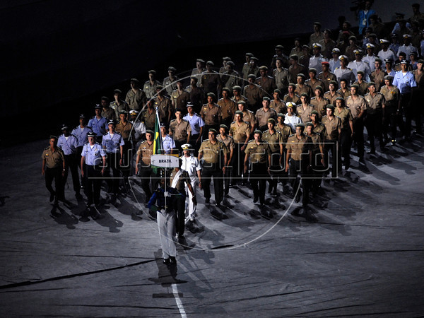 Brazil delegation parades during the inauguration ceremony of the 5th. World Military Games at Joao Havelange stadium, Rio de Janeiro, Brazil, July 16, 2011. Competitors from 112 countries will participate during the nine days of competitions. (Austral Foto/Renzo Gostoli)