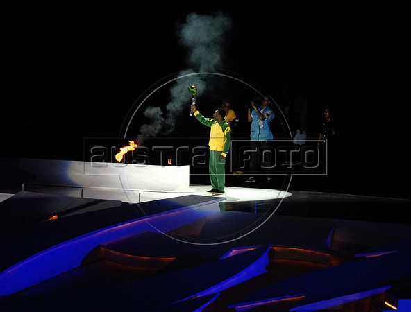 Brazilian former soccer player Edson Arantes do Nascimento, Pele lights the Olympic Flame in the inauguration ceremony of the 5th. World Military Games at Joao Havelange stadium, Rio de Janeiro, Brazil, July 16, 2011. Competitors from 112 countries will participate during the nine days of competitions. (Austral Foto/Renzo Gostoli)
