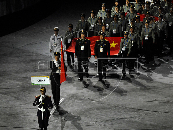 China delegation parades during the inauguration ceremony of the 5th. World Military Games at Joao Havelange stadium, Rio de Janeiro, Brazil, July 16, 2011. Competitors from 112 countries will participate during the nine days of competitions. (Austral Foto/Renzo Gostoli)