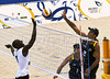 Angola's Domingos, left, try to block an attack by theBrazil's Roberto Pitta, right during a match as part of the 5th. World Military Games at Copacabana beach, Rio de Janeiro, Brazil, July 18, 2011. Italia won 2-0. Competitors from 112 countries will participate during the nine days of competitions. (Austral Foto/Renzo Gostoli)