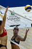 USA's Cultra, left, blocks an attack by the Brazil's Rachel Nunes, right, during a women final phase match as part of the 5th. World Military Games at Copacabana beach, Rio de Janeiro, Brazil, July 22, 2011. Brazil won 2-0. Competitors from 112 countries will participate during the nine days of competitions. (Austral Foto/Renzo Gostoli)