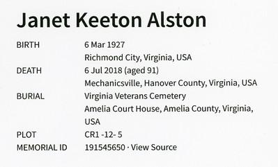 Janet Keeton Alston VAVetCem 001ABC
