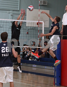 Palisades outside hitter Alex Frapech spikes a winner