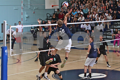 Palisades outside hitter Alex Frapech skys for a kill shot