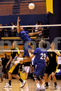 Set the middle at Dos Pueblos Tournament in Santa Barbara, CA. Palisades outside hitter Jordan Cohen