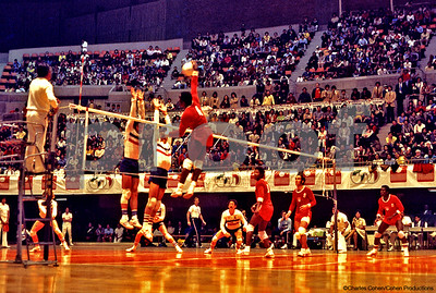 "Cuban outside hitter, 5'9"", putting it down on the Americans in the 1975 Pan American Games in Mexico City."