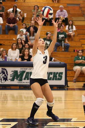 McNeil's Mallory Davidson sets the ball against Vista Ridge