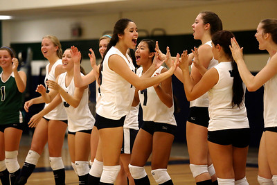 The McNeil volleyball team celebrates a point against Vista Ridge.