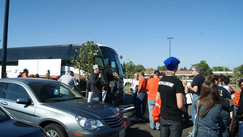 Bulldog Nation boarding the rooters bus for the trip to San Jose.