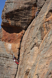 Trent, Andy and Ben on Watchtower Crack. Mt. Arapiles, Victoria, Australia. Photography by Marikki Patrikka.
