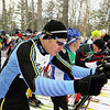Record-Eagle/Keith King <br /> Denny Paull prepares to take off from the starting line Saturday, February 12, 2011 during the North American Vasa at Timber Ridge Resort. Paull won first place in the in the 27 km freestyle mens 45-49 division.
