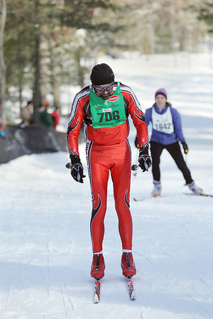 Record-Eagle/Keith King <br /> Rob Fox, of Negaunee, finishes first in the 50 km classic mens division Saturday, February 12, 2011 during the North American Vasa at Timber Ridge Resort.