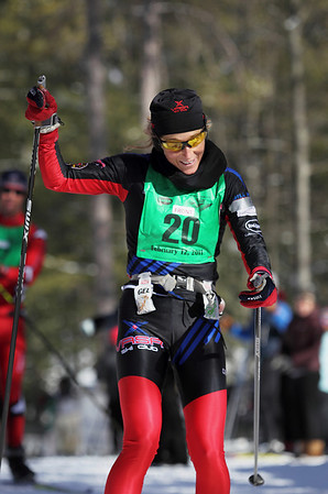 Record-Eagle/Keith King <br /> Amy Powell, of Lake Ann, finishes first in the 50 km freestyle womens division Saturday, February 12, 2011 during the North American Vasa at Timber Ridge Resort.