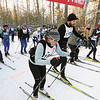 Record-Eagle/Keith King <br /> Carole Mueller-Brumbaugh, foreground, and Ken Blakey-Shell, begin to ski in the 27 km classic division race Saturday, February 12, 2011 during the North American Vasa at Timber Ridge Resort.