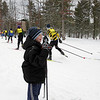 Record-Eagle/Keith King <br /> Ryan Durand, 8, of Interlochen, cheers on skiers Saturday, February 12, 2011 during the North American Vasa at Timber Ridge Resort.