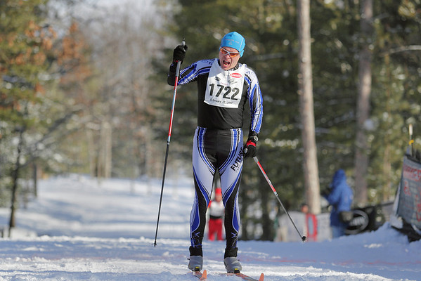 Record-Eagle/Keith King <br /> Jukka Lyly-Yrjanainen, of Illinois, finishes first in the 27 km classic mens division Saturday, February 12, 2011 during the North American Vasa at Timber Ridge Resort.