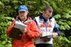 John Errington and Bruce Falk keep tabs on racers