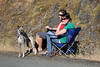 Spectators watched in comfort.  Dog ready to pace any laggers.