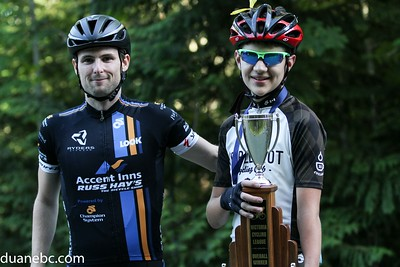 Cody Canning (National Sprint Champion) presents the 2015 Overall C Championship trophy to Tomas Kalyniuk