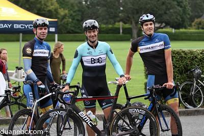 Top 3 A Race: l-r; 3. Eugene Hahn (gets most aggressive jersey), 1. Emile De Rosnay, 2. Nick Monnette