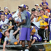 Minnesota Vikings fans bring down a chain link fence while trying to get an autograph from quarterback Teddy Bridgewater after the team's last practice Thursday at Minnesota State University. Photo by Pat Christman