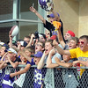 Minnesota Vikings fans yell out to get an autograph from players leaving the last practice of training camp at Minnesota State University Thursday. Photo by Pat Christman