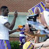 Minnesota Vikings' Xavier Rhodes signs autographs after practice Thursday. Photo by Pat Christman