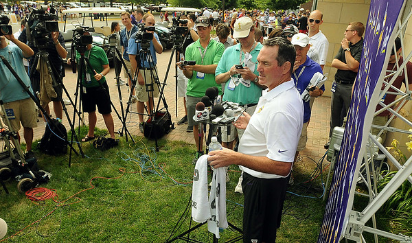 New Vikings head coach Mike Zimmer talks to media outside of the Julia Sears Residence Hall on Thursday. Photo by John Cross