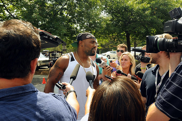 Viking defensive end Everson Griffen talks to media after arriving in Mankato on Thursday for the beginning of the team's preseason training camp at Minnesota State University, Mankato. Photo by John Cross