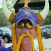 Keith Kloos of Mankato got into the spirit of the day for the return of the Vikings to Mankato for preseason training. Photo by John Cross