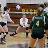Record-Eagle/Keith King<br /> Traverse City Central's Lauren Lozowski hits the ball against Traverse City West Wednesday, October 24, 2012 at Traverse City Central High School.