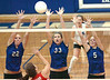 Gate City's Chelsea Spivey, Tessa Burton and Jennifer Lewis go up for the block. Photo by Ned Jilton II